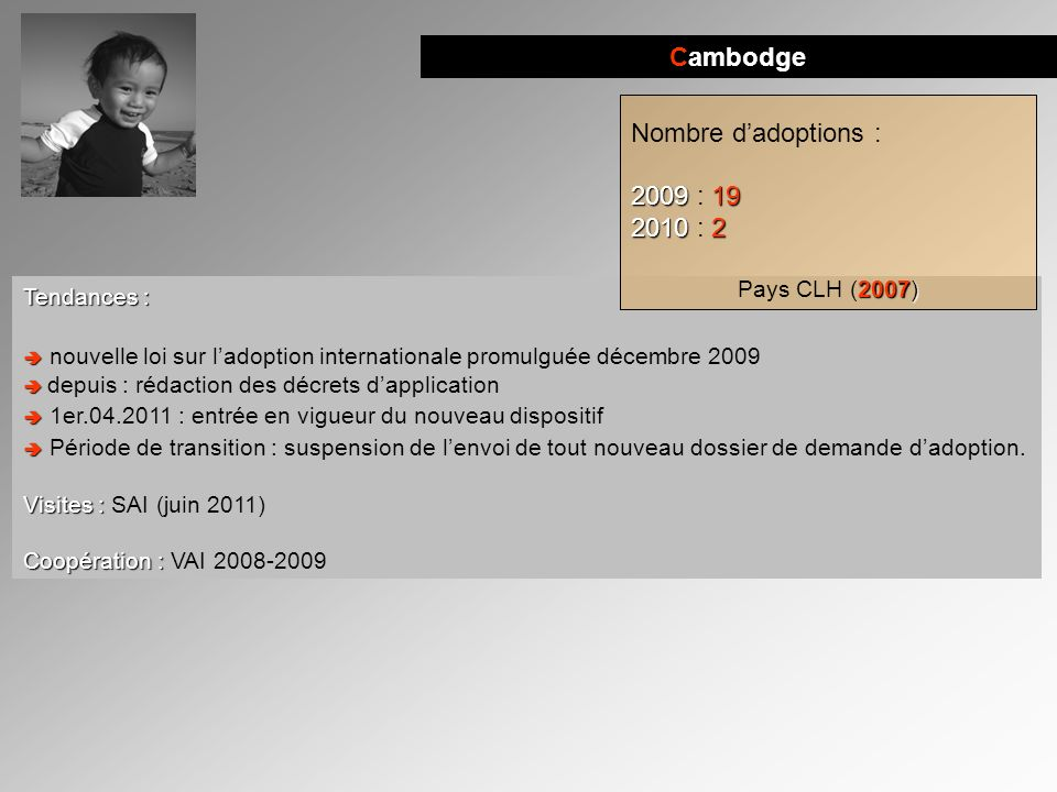 Cambodge Nombre d'adoptions : 2009 : 19 2010 : 2 Pays CLH (2007)