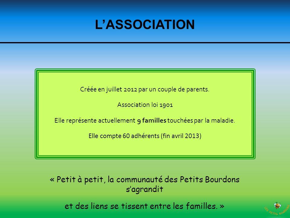 L'ASSOCIATION Créée en juillet 2012 par un couple de parents. Association loi 1901.