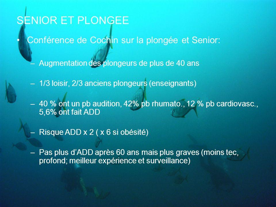 SENIOR ET PLONGEE Conférence de Cochin sur la plongée et Senior: