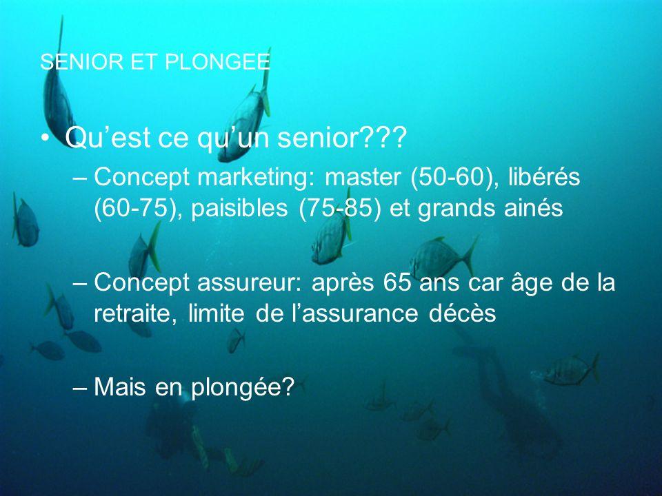 SENIOR ET PLONGEE Qu'est ce qu'un senior Concept marketing: master (50-60), libérés (60-75), paisibles (75-85) et grands ainés.