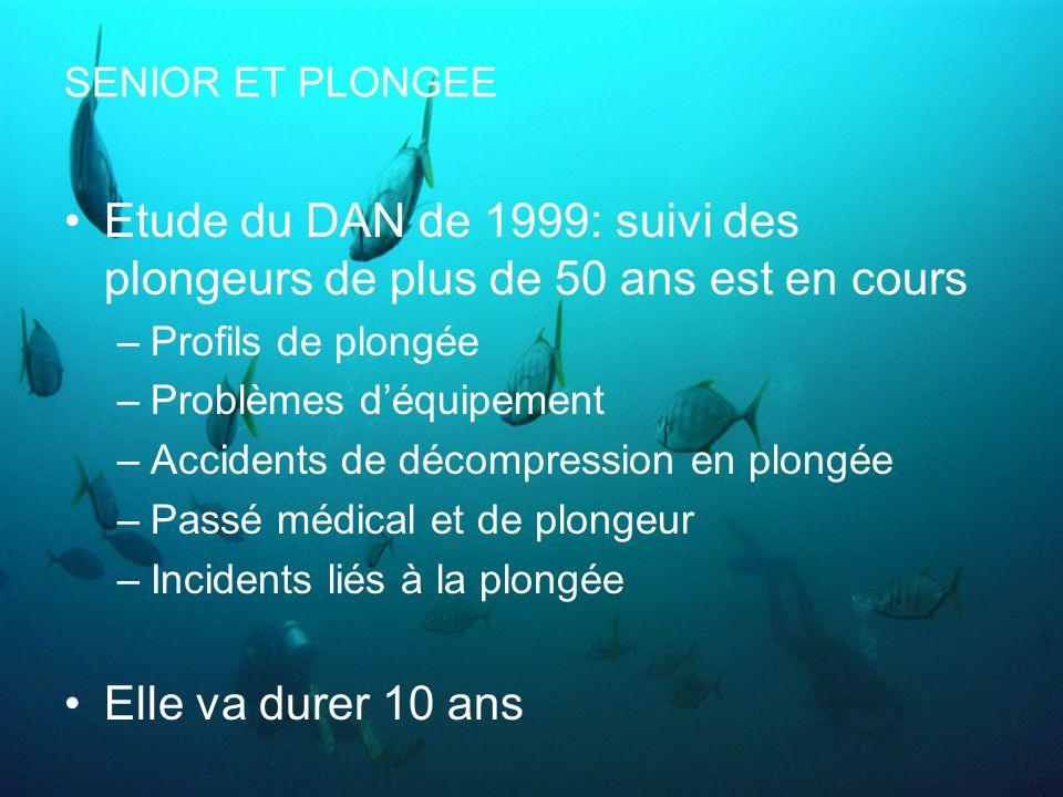 SENIOR ET PLONGEE Etude du DAN de 1999: suivi des plongeurs de plus de 50 ans est en cours. Profils de plongée.