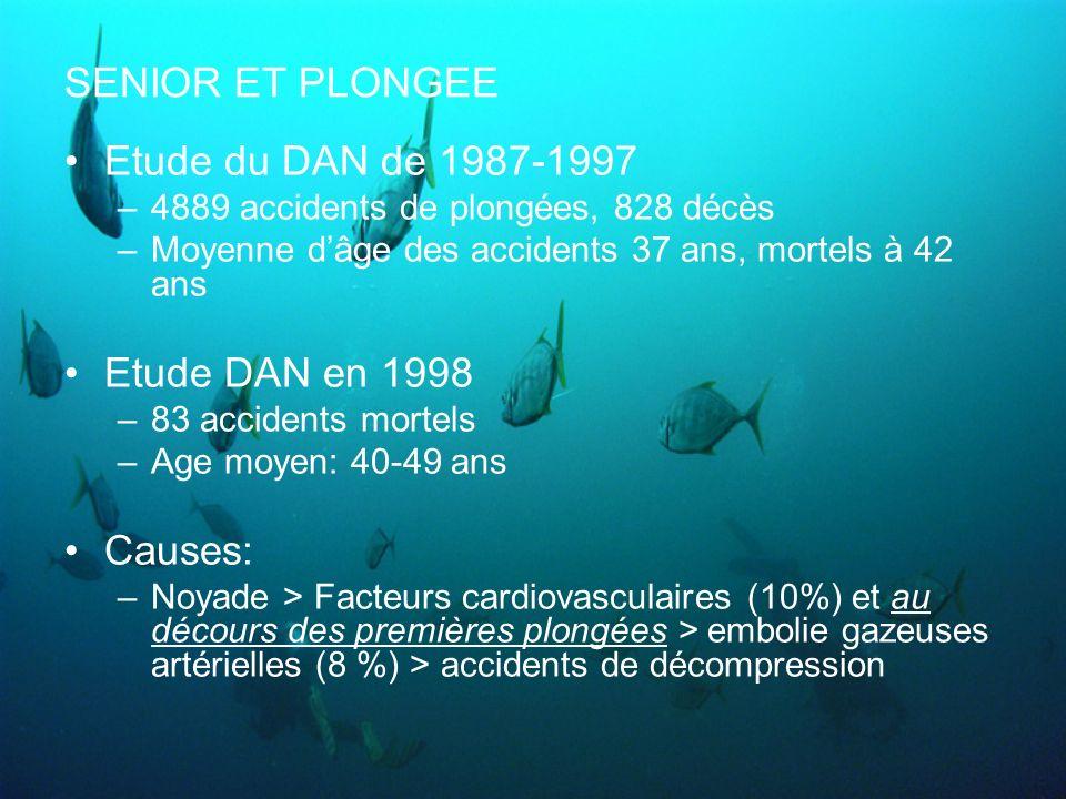 SENIOR ET PLONGEE Etude du DAN de 1987-1997 Etude DAN en 1998 Causes: