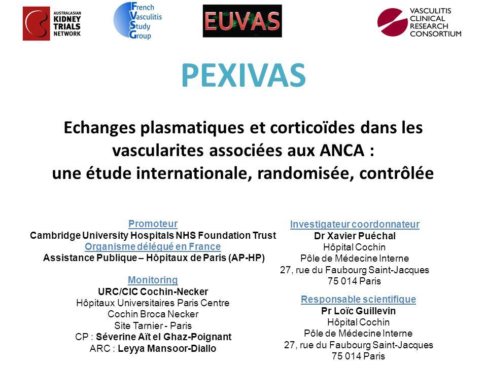 PEXIVAS Echanges plasmatiques et corticoïdes dans les vascularites associées aux ANCA : une étude internationale, randomisée, contrôlée