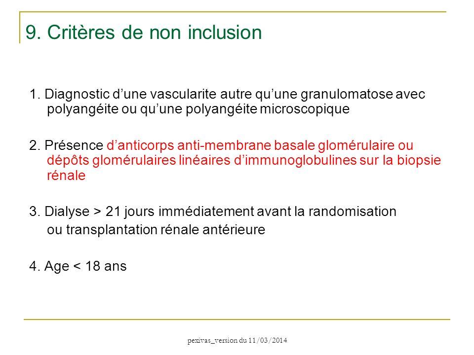 9. Critères de non inclusion
