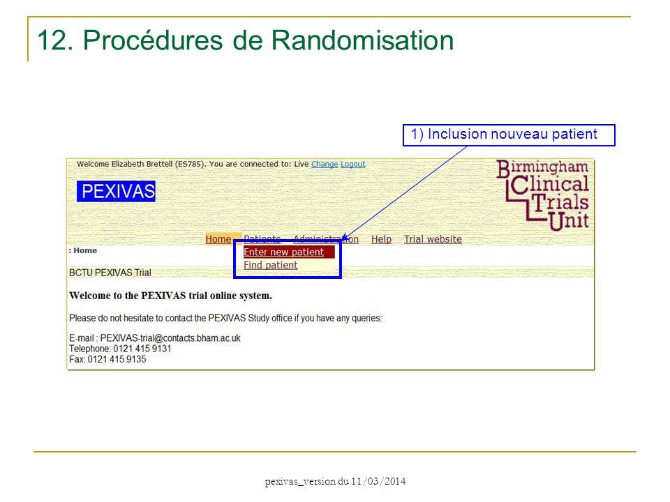 12. Procédures de Randomisation