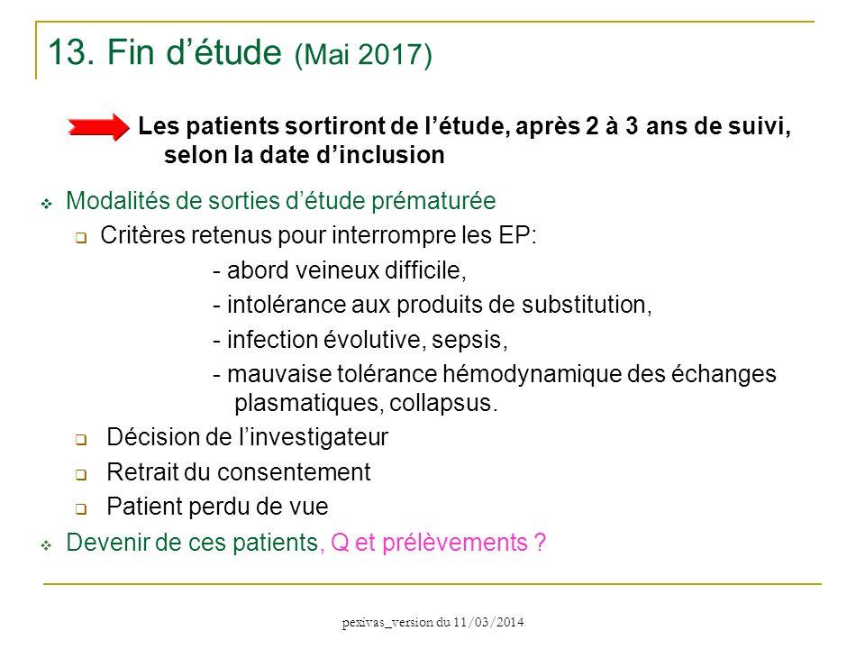 13. Fin d'étude (Mai 2017) Les patients sortiront de l'étude, après 2 à 3 ans de suivi, selon la date d'inclusion.