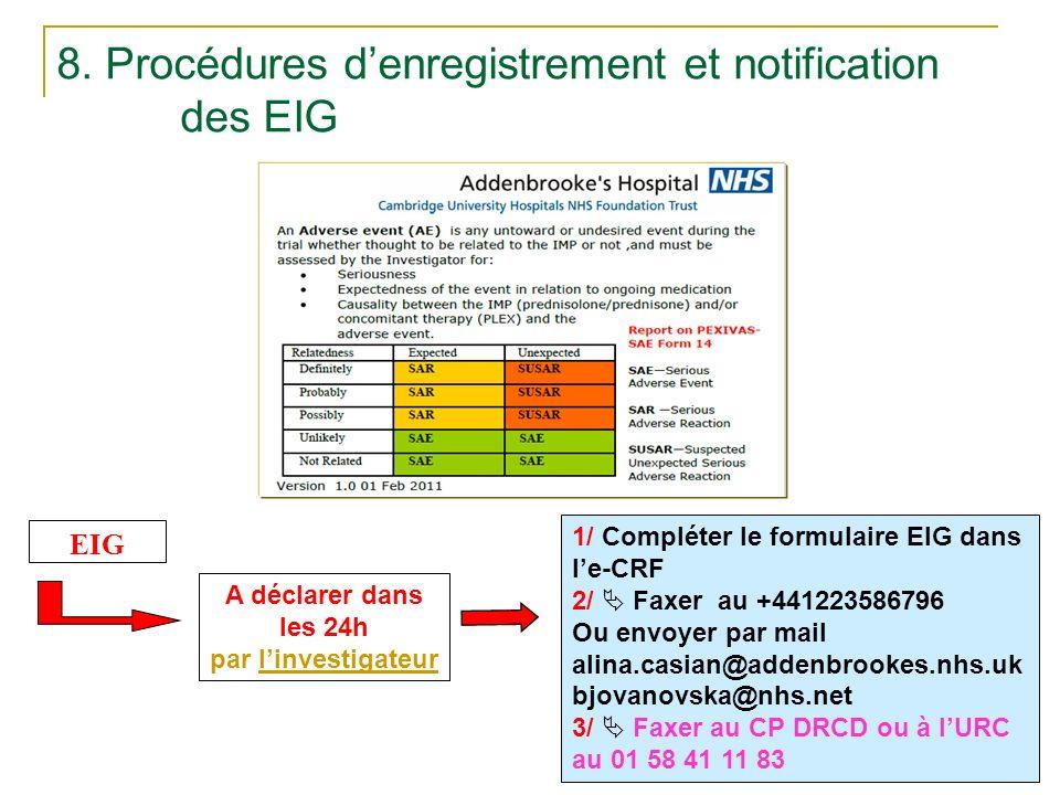8. Procédures d'enregistrement et notification des EIG