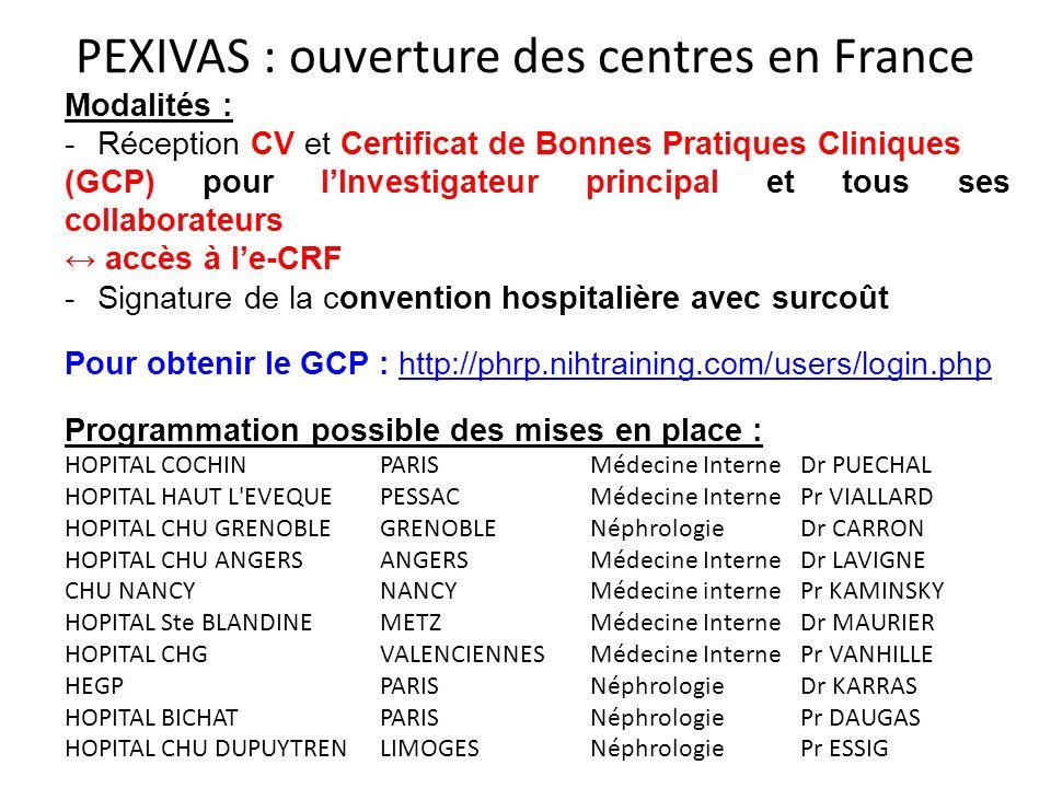 PEXIVAS : ouverture des centres en France
