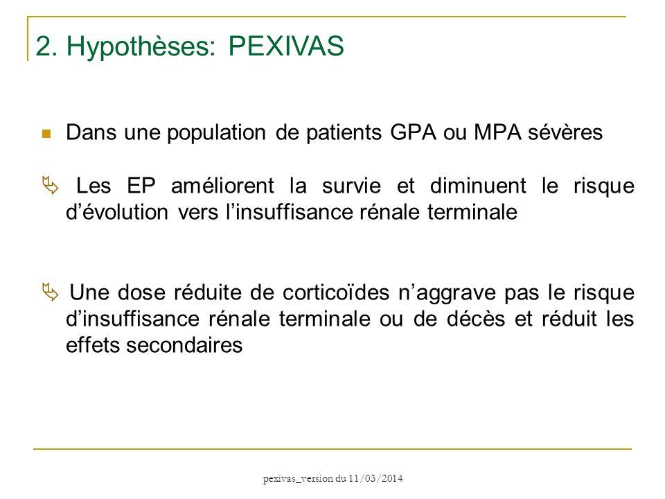 2. Hypothèses: PEXIVAS Dans une population de patients GPA ou MPA sévères.