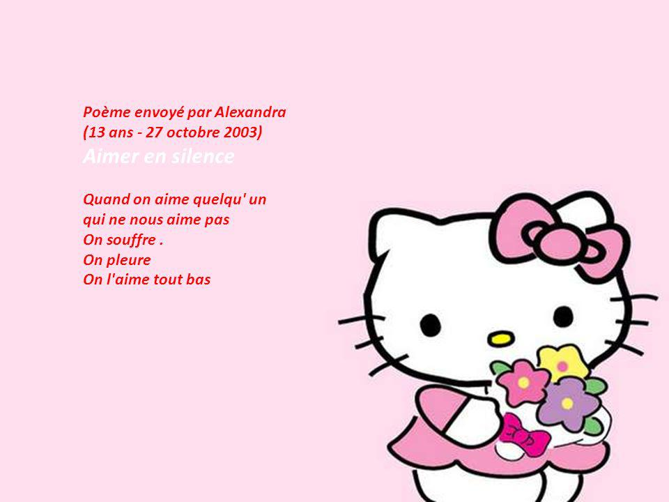 Aimer en silence Poème envoyé par Alexandra (13 ans - 27 octobre 2003)