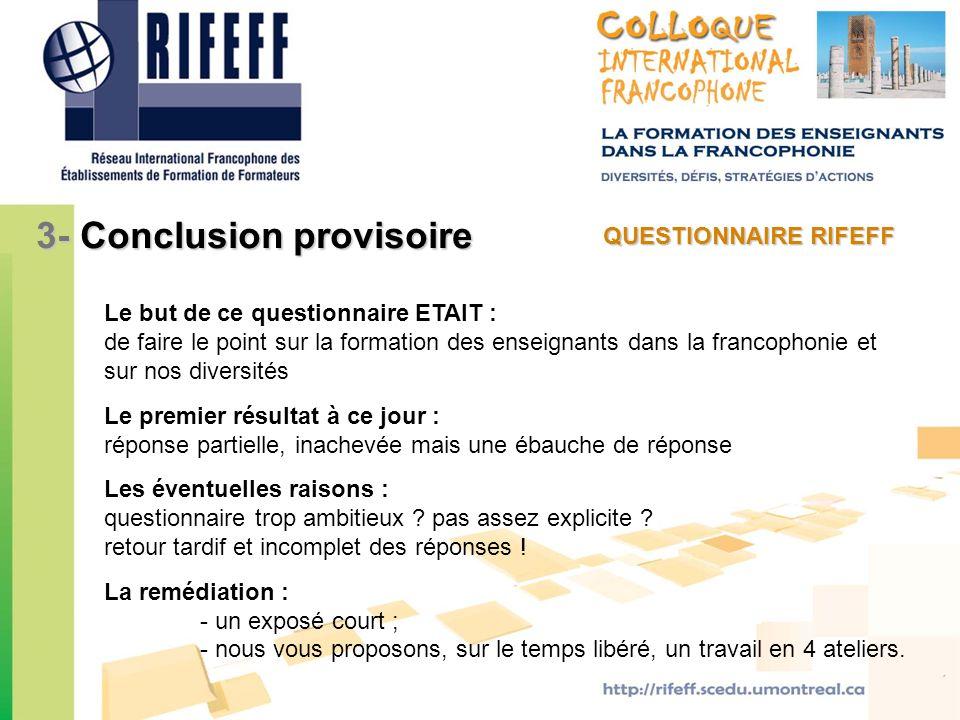 3- Conclusion provisoire