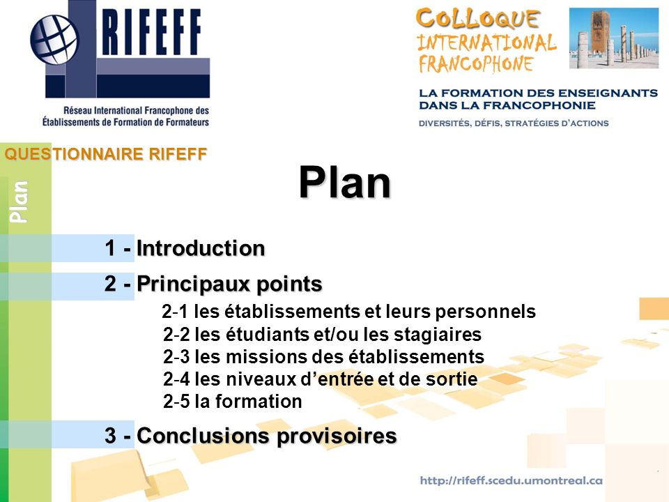 Plan Plan 1 - Introduction 2 - Principaux points