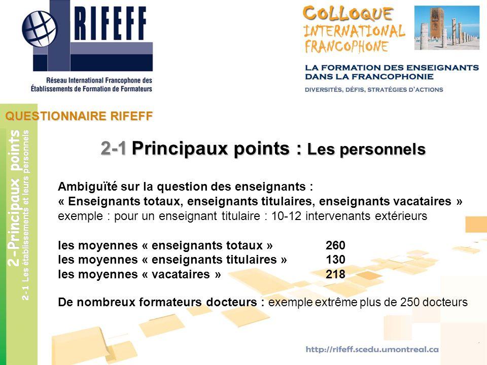 2-1 Principaux points : Les personnels