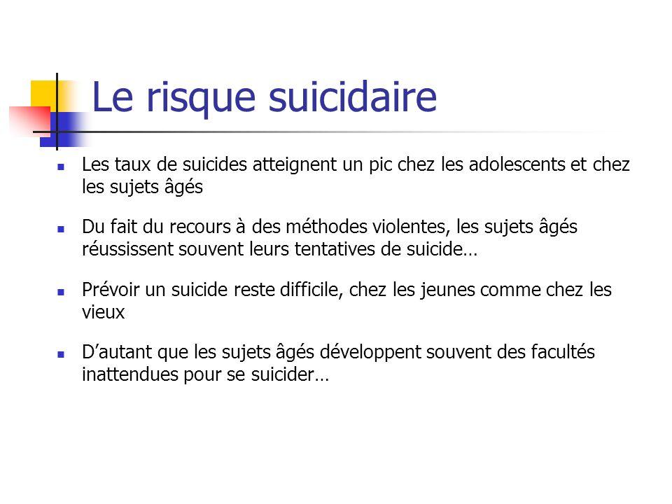 Le risque suicidaire Les taux de suicides atteignent un pic chez les adolescents et chez les sujets âgés.