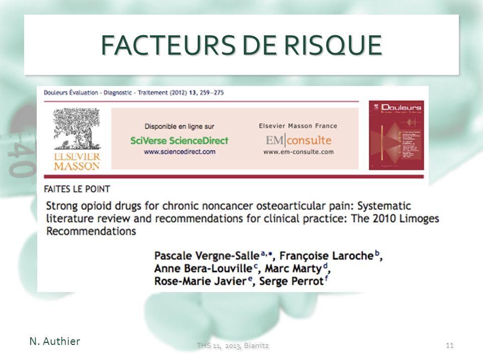 FACTEURS DE RISQUE N. Authier THS 11, 2013, Biarritz