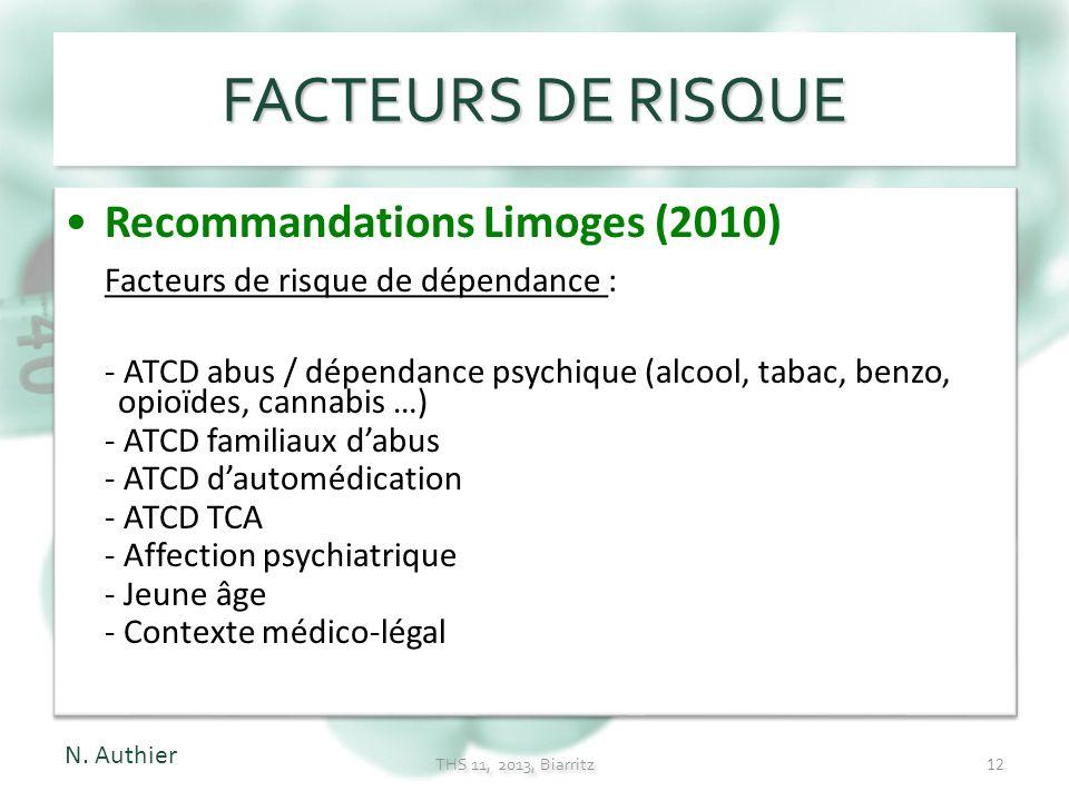 FACTEURS DE RISQUE Recommandations Limoges (2010)