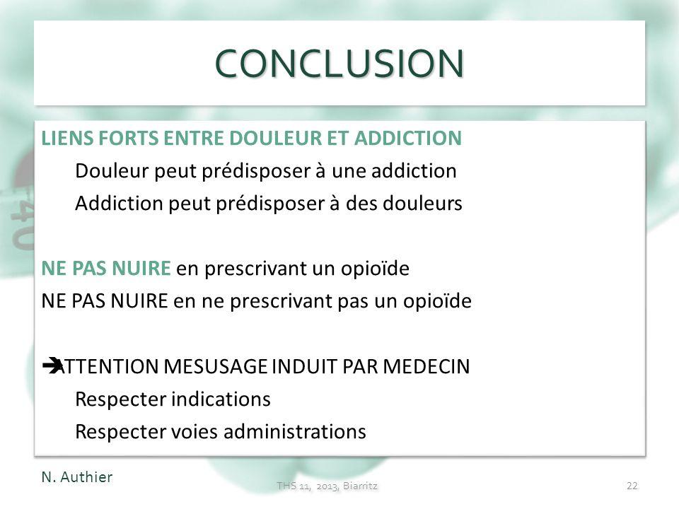 CONCLUSION LIENS FORTS ENTRE DOULEUR ET ADDICTION