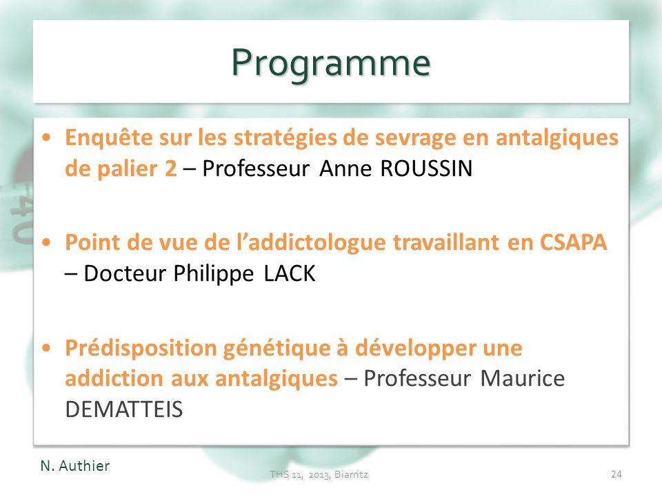 Programme Enquête sur les stratégies de sevrage en antalgiques de palier 2 – Professeur Anne ROUSSIN.