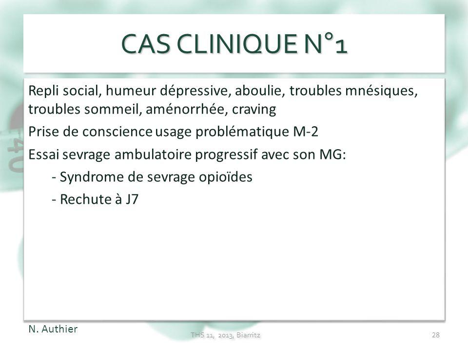 CAS CLINIQUE N°1 Repli social, humeur dépressive, aboulie, troubles mnésiques, troubles sommeil, aménorrhée, craving.