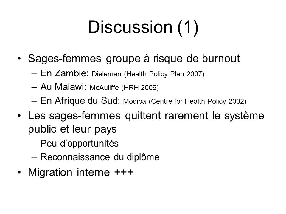 Discussion (1) Sages-femmes groupe à risque de burnout