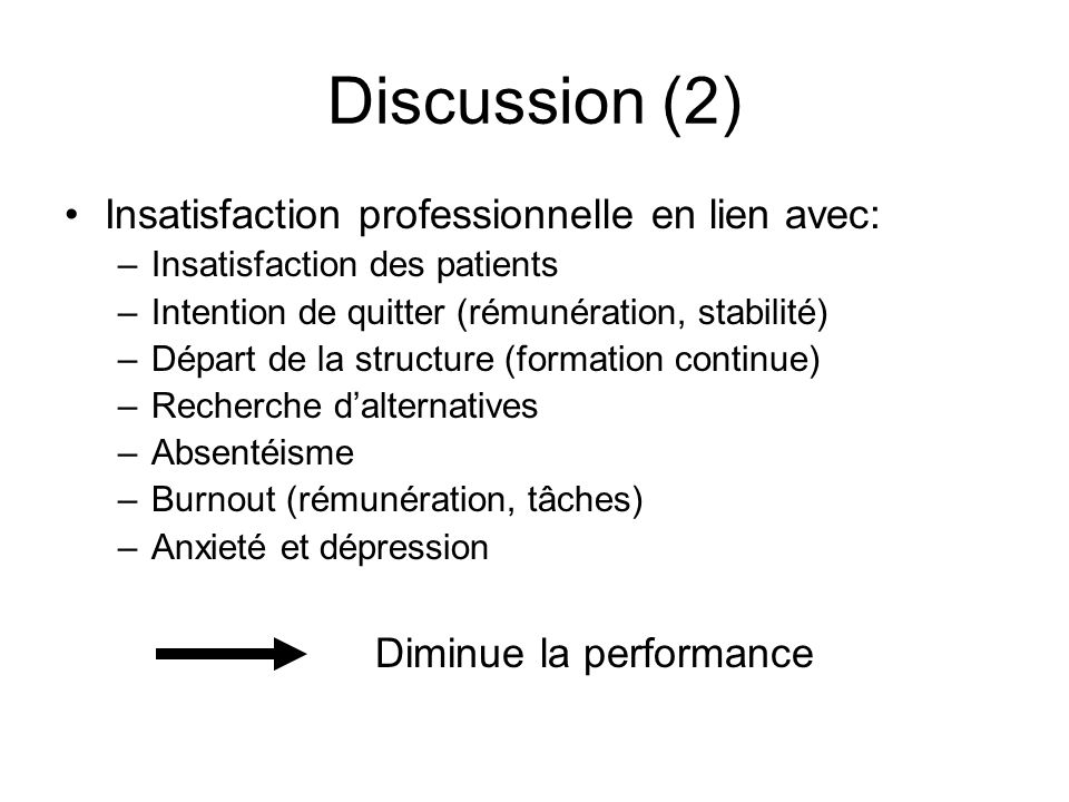 Discussion (2) Insatisfaction professionnelle en lien avec: