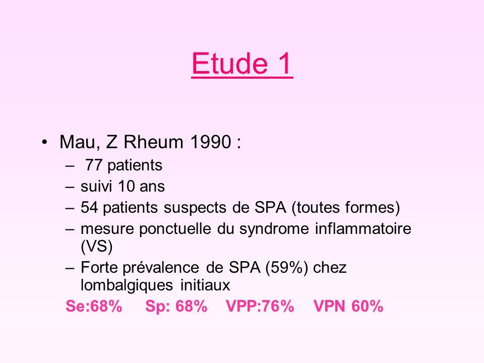 Etude 1 Mau, Z Rheum 1990 : 77 patients suivi 10 ans