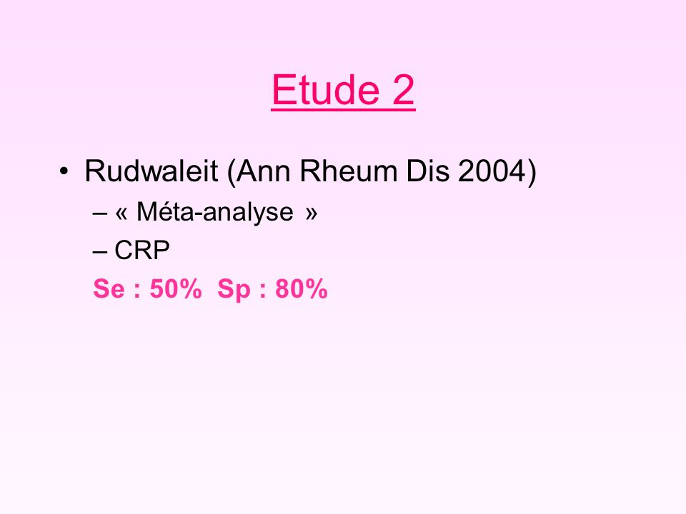 Etude 2 Rudwaleit (Ann Rheum Dis 2004) « Méta-analyse » CRP