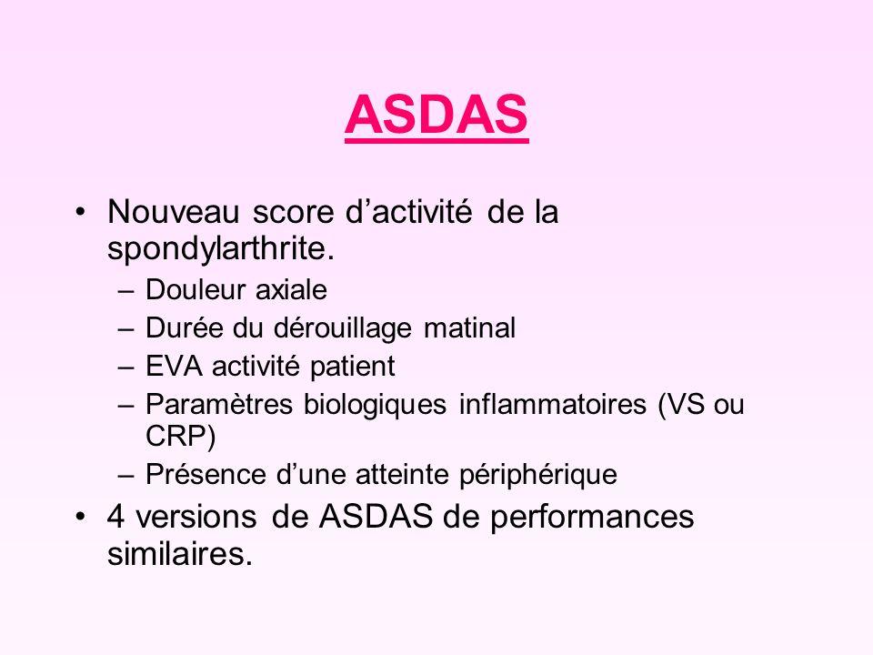 ASDAS Nouveau score d'activité de la spondylarthrite.