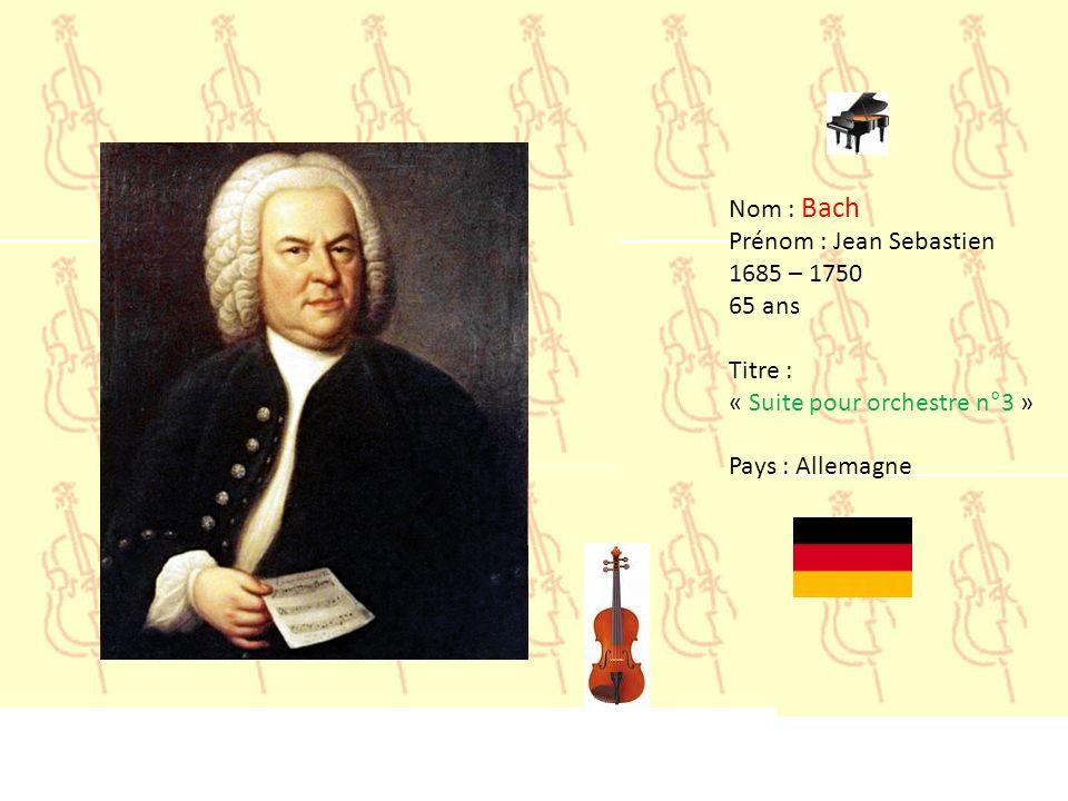 Nom : Bach Prénom : Jean Sebastien. 1685 – 1750.