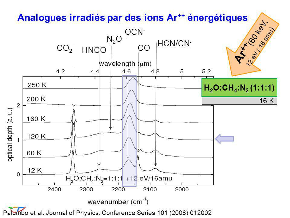 Analogues irradiés par des ions Ar++ énergétiques