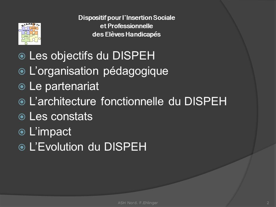 Les objectifs du DISPEH L'organisation pédagogique Le partenariat
