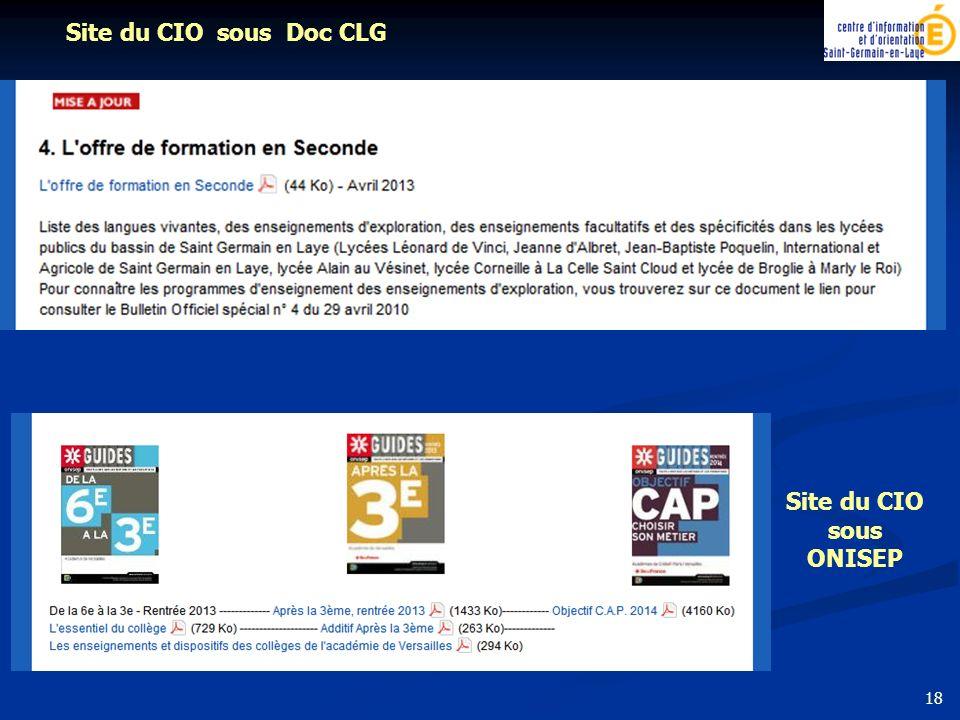 Site du CIO sous Doc CLG Site du CIO sous ONISEP