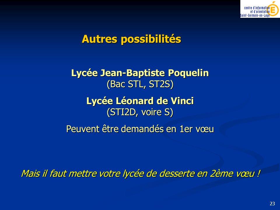 Autres possibilités Lycée Jean-Baptiste Poquelin (Bac STL, ST2S)