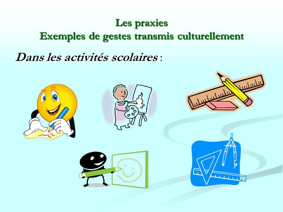 Les praxies Exemples de gestes transmis culturellement
