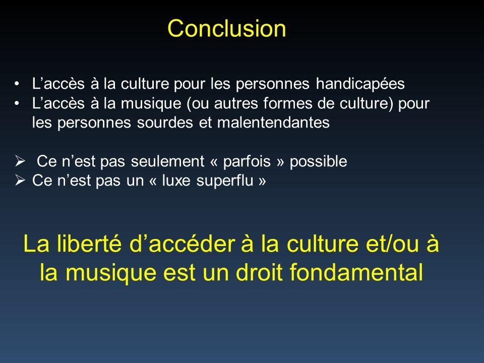Conclusion L'accès à la culture pour les personnes handicapées.