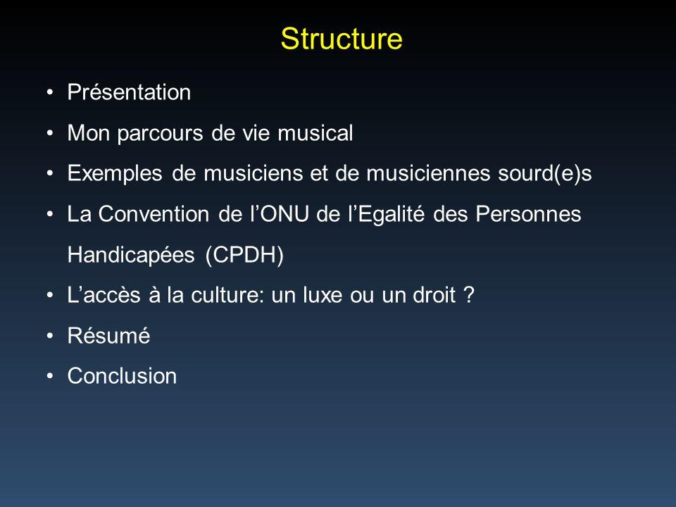 Structure Présentation Mon parcours de vie musical