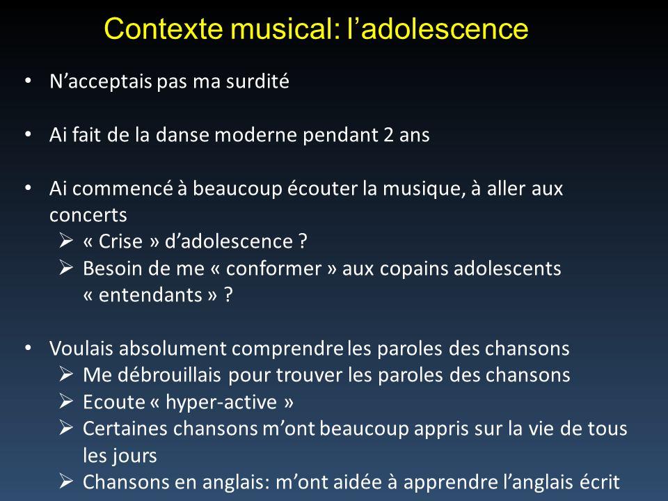 Contexte musical: l'adolescence