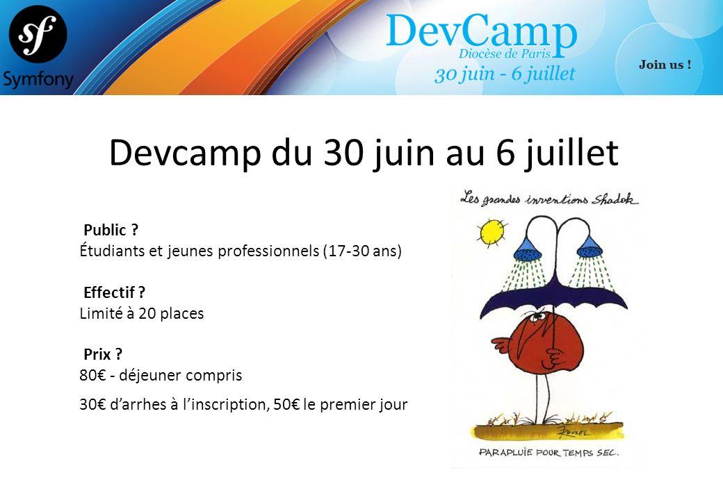 Devcamp du 30 juin au 6 juillet