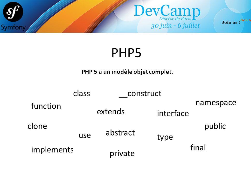 PHP 5 a un modèle objet complet.