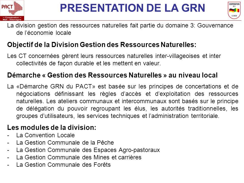 PRESENTATION DE LA GRN La division gestion des ressources naturelles fait partie du domaine 3: Gouvernance de l'économie locale.