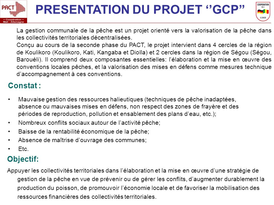 PRESENTATION DU PROJET ''GCP''