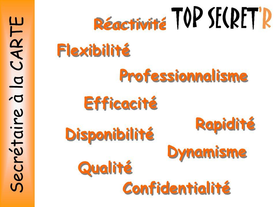 Secrétaire à la CARTE Réactivité Flexibilité Professionnalisme