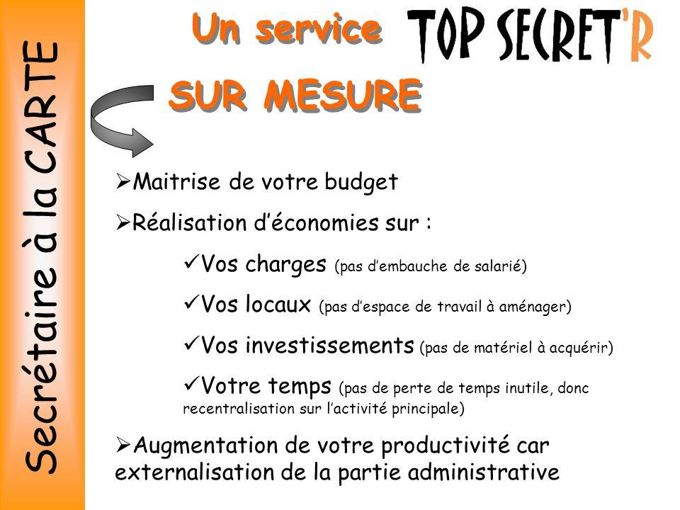 Secrétaire à la CARTE Un service SUR MESURE Maitrise de votre budget
