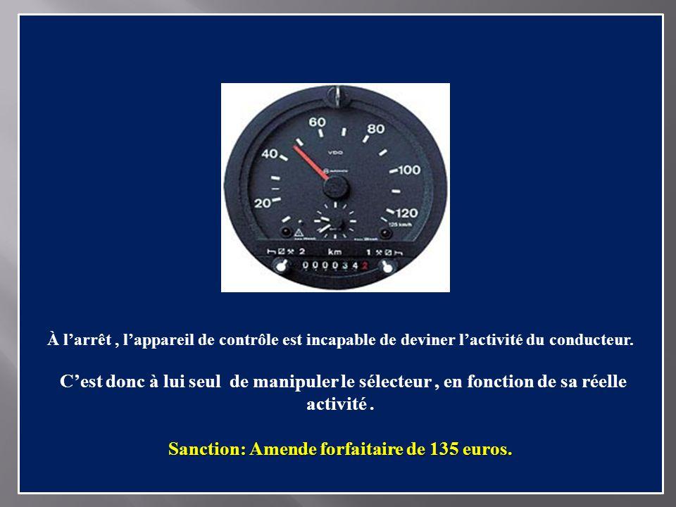 Sanction: Amende forfaitaire de 135 euros.
