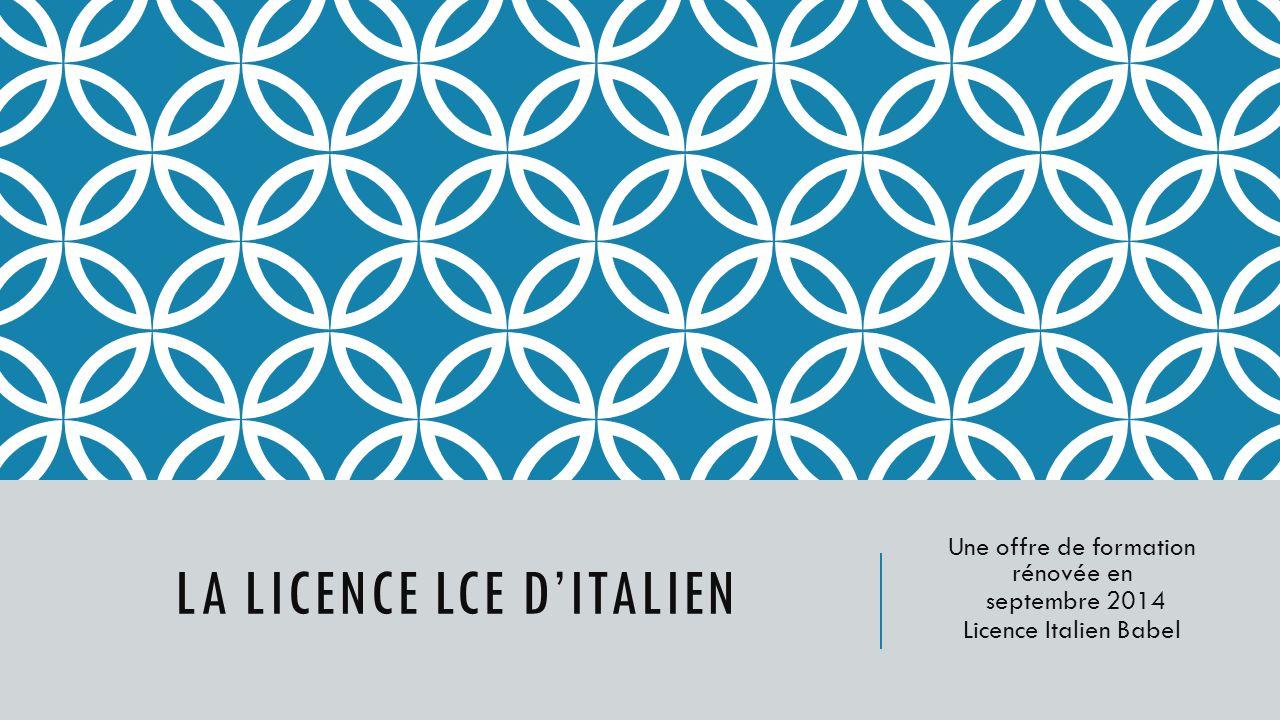 La licence LCE d'ITALIEN