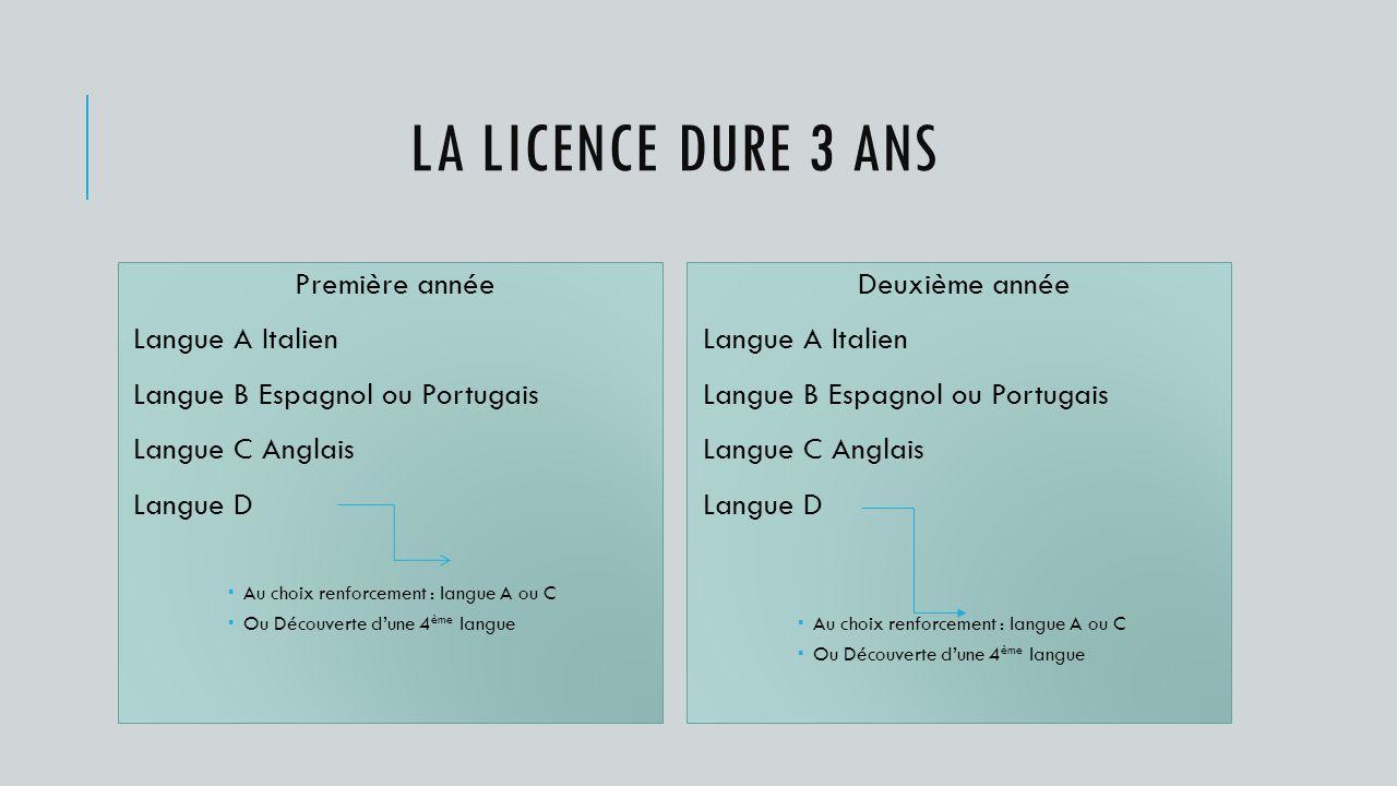 La Licence dure 3 ans Première année Langue A Italien
