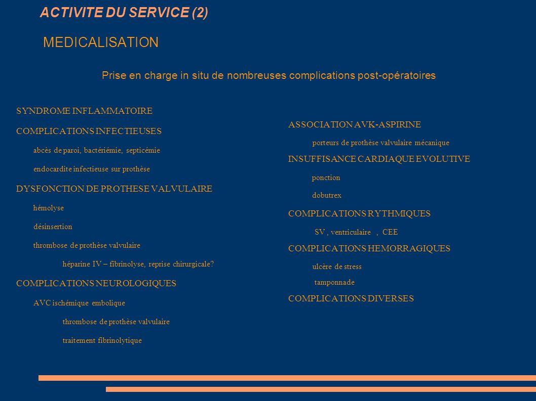ACTIVITE DU SERVICE (2) MEDICALISATION