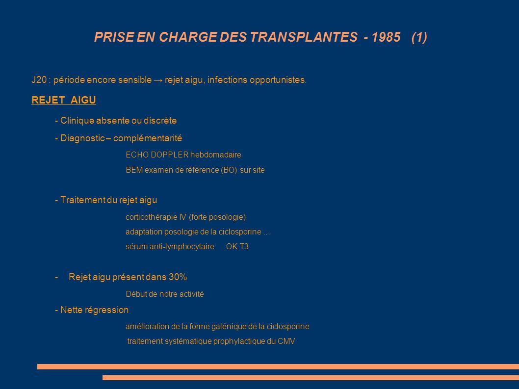 PRISE EN CHARGE DES TRANSPLANTES - 1985 (1)