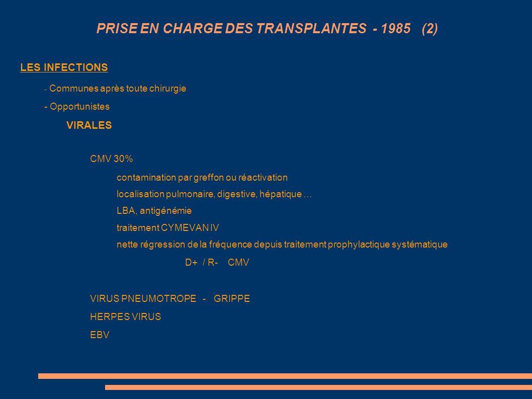 PRISE EN CHARGE DES TRANSPLANTES - 1985 (2)