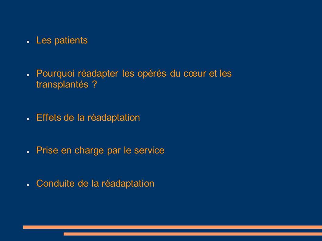 Les patients Pourquoi réadapter les opérés du cœur et les transplantés Effets de la réadaptation.